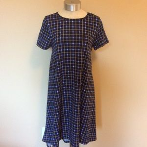 Lularoe Carly plaid shirt dress midi